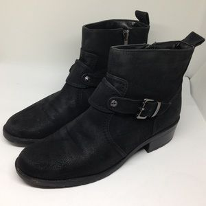 Anne Klein Black Suede Ankle Moto Boots Bootie 7.5